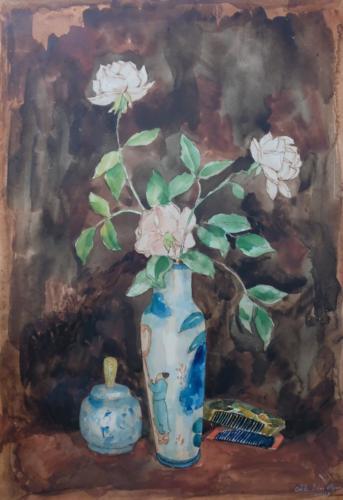 Blumenstilleben mit japanischer Vase