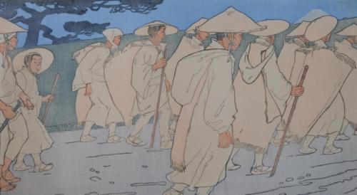 Pilger auf dem Weg zum Fujiyama