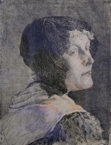 Frau mit Spitzenhaube