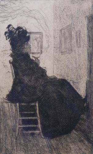 Rauchende Frau im Atelier